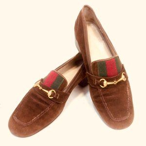 Gucci Vtg 60's Horse Bit Ribbon Suede Loafers